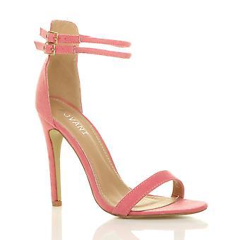 Ajvani womens hoge naaldhak nauwelijks er dubbele riem gesp partij sandalen schoenen