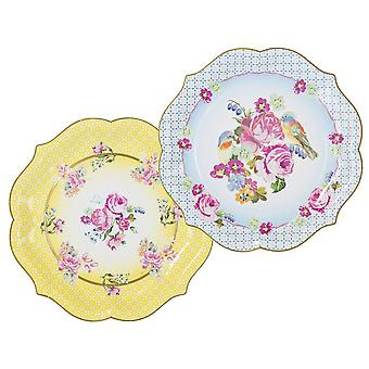 Alice in Wonderland Style Large Paper Serving Plates / Platters x 4 Wedding / Party