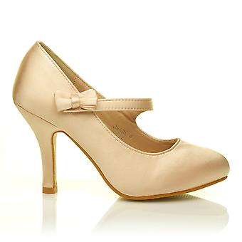 CHARLOTTE Champagne Gold Satin High Heel Bridal Bow Mary Jane Shoes