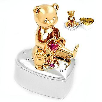 Pink jewelry box heart - bear with heart silver plated rhodium gold plated