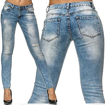 Ladies Skinny Jeans Pants Destroyed Trousers Stretch Ripped Stone Washed Hole