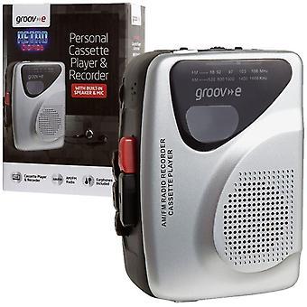Groov-e Retro Personal de Cassette, reproductor y grabador con auriculares - plata
