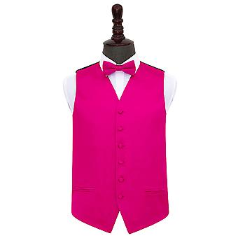 Hot Pink Plain Satin Wedding Waistcoat & Bow Tie Set