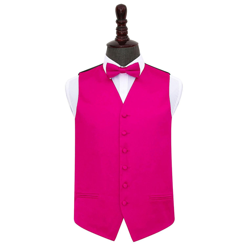 Hot Pink Plain Satin Wedding Waistcoat & Bow Tie Set