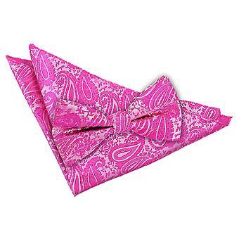 Fuchsia Pink Paisley Fliege & Einstecktuch Satz