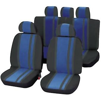 Unitec 84959 Newline Seat covers 14-piece Polyester Blue, Black Driver's seat, Passenger seat, Back seat