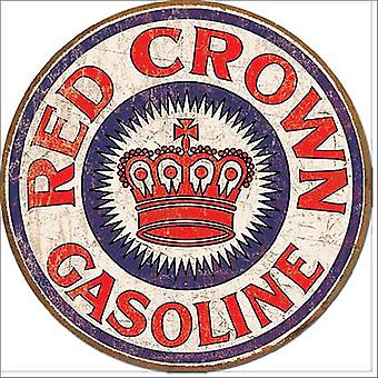 Red Crown Gas Round Metal Sign