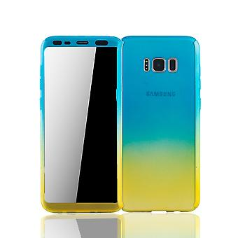 Samsung Galaxy S8 plus mobile shell Schutzcase full cover 360 display protection foil blue / yellow