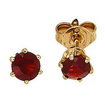 Granat øreringe boutons 585 guld gul guld 2 granat røde guld øreringe granat smykker