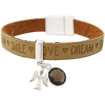 Damen - Armband - Schutz Engel - 925 Silber - WISHES - Braun - Sand - Rauchquarz - Magnetverschluss