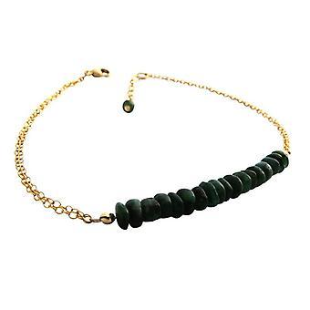 Emerald armband grön smaragd ädelsten armband guldpläterad