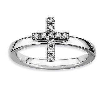 Argento lucido del forcone impilabile espressioni Cross diamante anello rodiato - formato dell'anello: 5-10