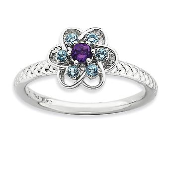 2.5mm Sterling Silver Polished Prong set Rhodium-plated Stackable Expressions Amethyst and Blue Topaz Stackable Ring - R