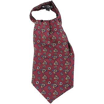 Knightsbridge corbatas Paisley pequeña corbata seda - vino