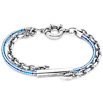 Anchor and Crew Belfast Silver and Rope Bracelet - Blue Dash