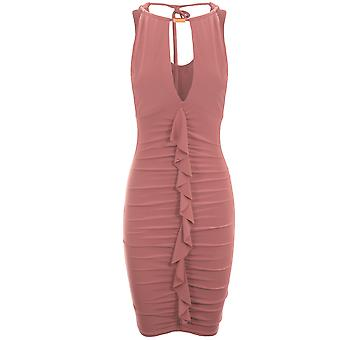 Ladies Sleeveless Halter Choker V Neck Plunge Ruffle Frill Slinky Bodycon Dress