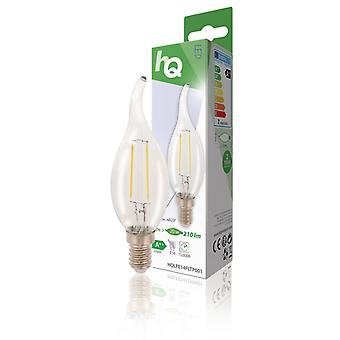 HQ HQLFE14FLTP001 Led Retro Filament Lamp E14 Gebogen Kaars 2 W 210 Lm 2700 K