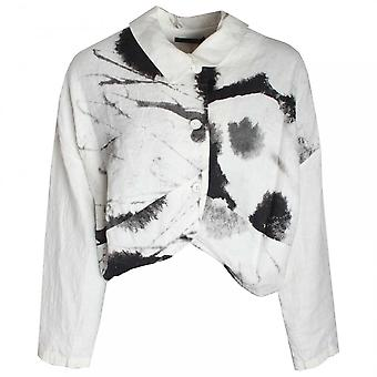 Crea Concept Abstract Print Button Front Linen Jacket