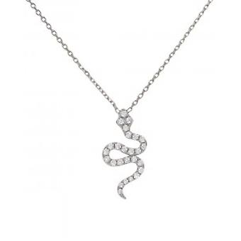 Cavendish French CZ and Silver Snake Necklace