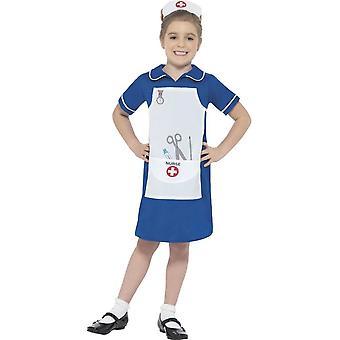 Krankenschwester Kostüm, blau, mit Kleid & Kopfstück