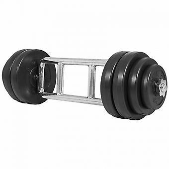 Set pour triceps avec disques rev�tement en plastique 35KG