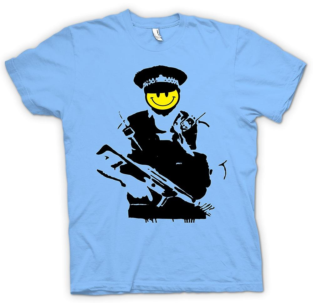 Herr T-shirt - Banksy - glad Smiley - koppar - Graffiti