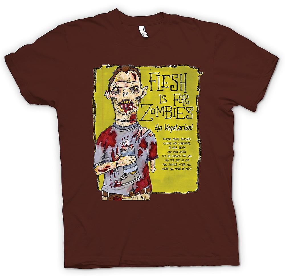 Mens T-shirt - Flesh Is For Zombies Go Vegetarian