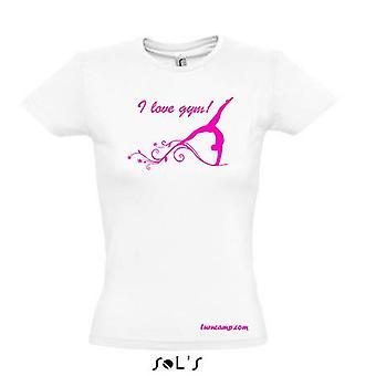 T-shirt dames filles gymnastique gymnastique sport motif disant blanc imprimé rose