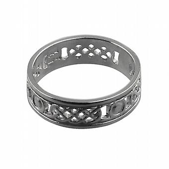 Silver 6mm pierced Celtic Wedding Ring Size Z