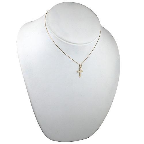9ct Gold 24x13mm plain Club end plain Cross with a curb chain