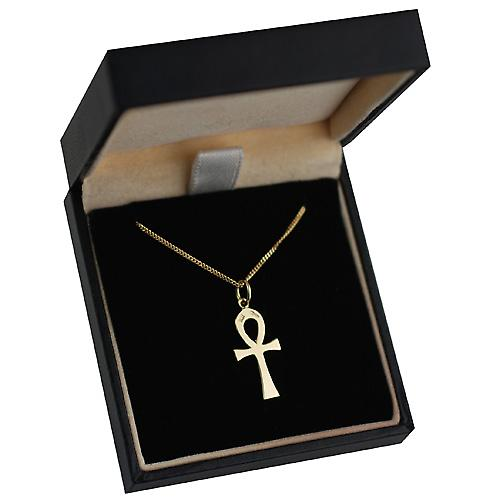 18ct Gold 18x10mm plain solid Ankh or Peace Cross with a curb Chain 16 inches Only Suitable for Children