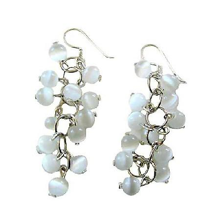 Soothing White Cat Eye Sterling Silver Handmade Dangling Earrings