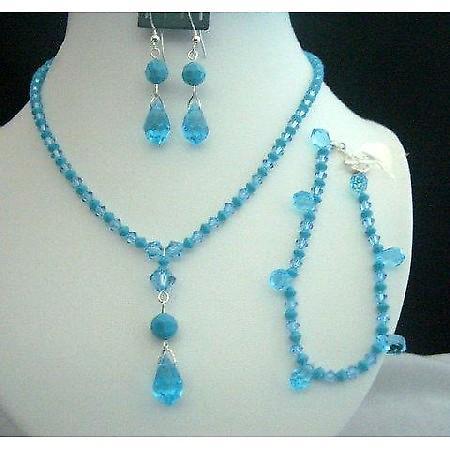 Necklace Set Bracelet Swarovski Aquamarine Turquoise Crystals