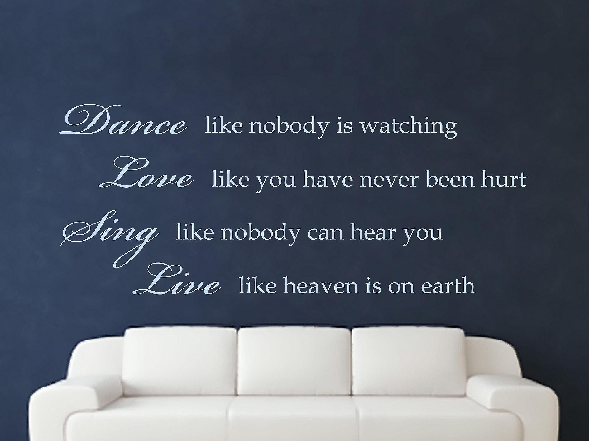 Dance Like Nobody Is Watching Wall Art Sticker - Pastel Blue