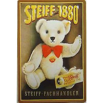 Steiff Teddy advert embossed steel sign