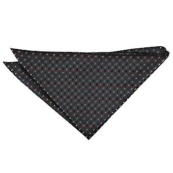 Black with Red and Gold Bohemian Geometric Pocket Square