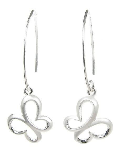 Cavendish French Sterling Silver Long Drop Brushed Butterfly Earrings