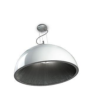 Umbrella Large White Pendant With Silver Pleated Interior - Grok 00-2726-AQ-78