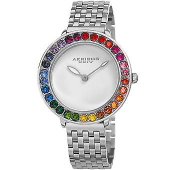 Akribos XXIV AKS191091SS femmes quartz arc en ciel Swarovski Crystal bracelet montre