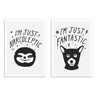 2 Art-Posters 30 x 40 cm - I'm just Fantastic and narcoleptic - Florent Bodart
