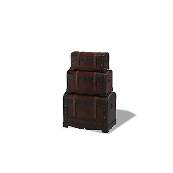 Trunk Set Brown Round Top