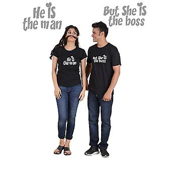 He is the man, she is the boss (classic) classic couple t-shirt