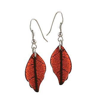 Eternal Collection Burnished Orange Leaf Silver Tone Drop Pierced Earrings