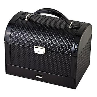 Diamond Patent Polyurethane Jewelry Case Available in Black/Snake