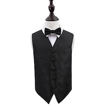 Boy's Black Paisley Patterned Wedding Waistcoat & Bow Tie Set