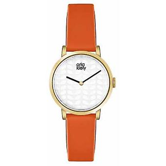 Orla Kiely Womans Creme Zifferblatt Orange Leder Armband OK2114 Uhr