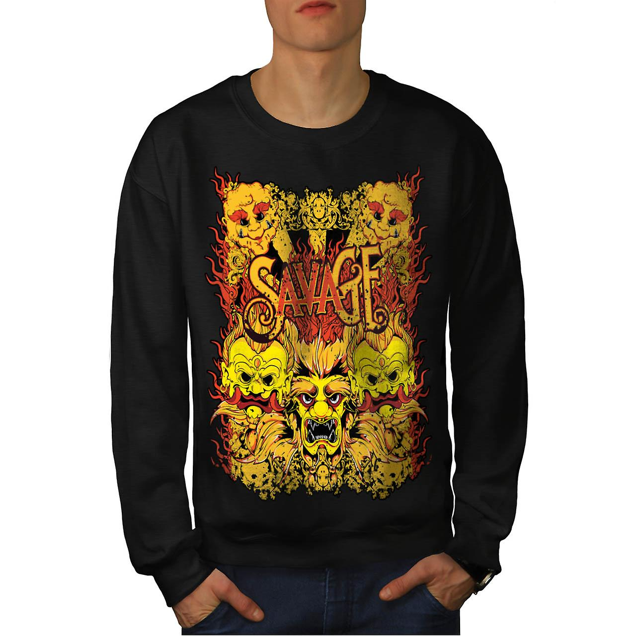 Savage Samurai Mask Asian Parade Men Black Sweatshirt | Wellcoda