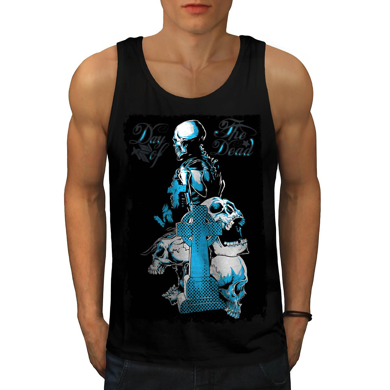 Dead Day Grave Yard Skull Tomb Men Black Tank Top | Wellcoda