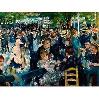 Dans på Le Moulin de la Galette affisch Skriv av Pierre-Auguste Renoir