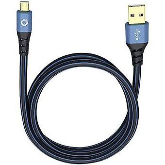 USB 2.0 Cable [1x USB 2.0 connector A - 1x USB 2.0 connector Micro B] 0.50 m Blue gold plated connectors Oehlbach
